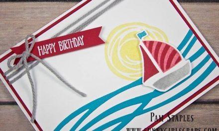 CARD: Tic Tac Toe Swirly Bird Sailboat