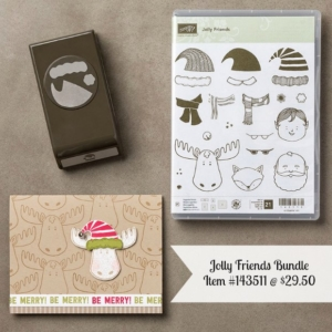 Jolly Friends Bundle #143511 Purchase today by visiting www.sunnygirlscraps.com #jollyfriends #stampinup #builderpunch #handmadecards #cards #christmas