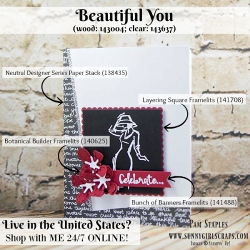 Beautiful You Sneak Peek card created by Pam Staples, Sunny Girl Scraps, featuring the Beautiful You Stamp Set wood: 143004 or clear: 143637. Place your order on January 4, 2017 by visiting my blog: www.sunnygirlscraps.com #beautifulyou #susneakpeek #sunnygirlscraps #stampinup #cards #papercrafts