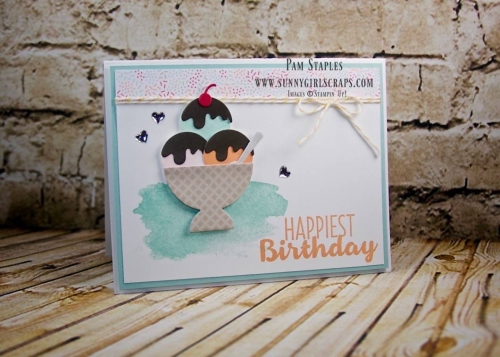 Cool Treats Bundle Sneak Peek card created by Pam Staples, Sunny Girl Scraps, featuring the NEW Cool Treats Bundle Item 145181. Place your order on January 4, 2017 by visiting my blog: www.sunnygirlscraps.com #cooltreats #susneakpeek #sunnygirlscraps #stampinup #frozentreats #cards #occasions #papercrafts