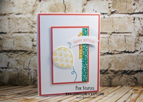 Balloon Adventures Card created by Pam Staples, Sunny Girl Scraps. Place your order on January 4, 2017 by visiting my blog: www.sunnygirlscraps.com #balloonadventures #occasionscatalog #sunnygirlscraps #stampinup #cards #papercrafts