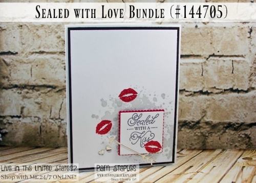 A Sealed with Love and Kisses Valentine Card featuring the Sealed wit Love Bundle. Card created by Pam Staples, Sunny Girl Scraps. Place your Stampin' Up! order by visiting my blog: www.sunnygirlscraps.com #sealedwithlove #valentine #sunnygirlscraps #stampinup #papercrafts