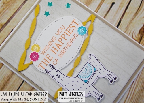 It's a birthday bash OSAT Blog Hop celebration featuring a Birthday Fiesta card created by Pam Staples. Visit my blog to learn more and to create your own Gift Bag: www.sunnygirlscraps.com #handmadecard #sunnygirlscraps #birthdaybash