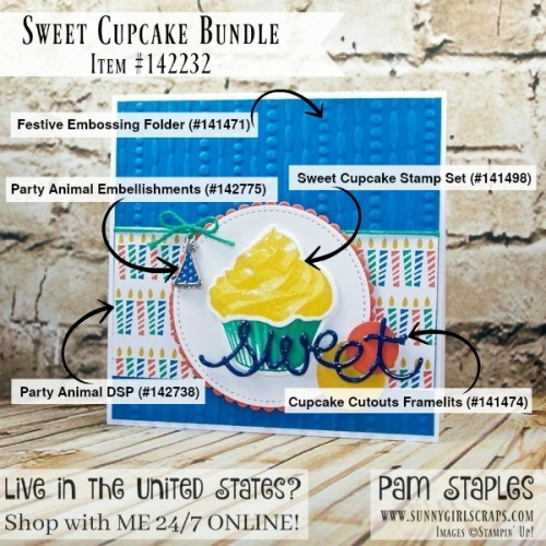 Sweet Cupcakes Card Stamp It Tips created by Pam Staples, Sunny Girl Scraps. Order today by visiting www.sunnygirlscraps.com #pcc217 #allthingsthanks #thankyou