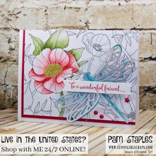 Dragonfly Dreams with Sale-A-Bration Inside The Lines Designer Series Paper. Card created by Pam Staples  To order products to recreate these projects, visit www.sunnygirlscraps.com  #dragonflydreams #papercrafts #stampinup