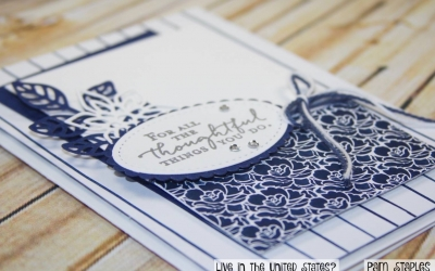 PCC240: So Blue with Floral Phrases Stamp Set
