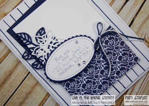 Handmade monochromatic card featuring the Floral Phrases Stamp Set created by Pam Staples Order today by visiting www.sunnygirlscraps.com #pcc2017 #floralphrases #sothoughtful