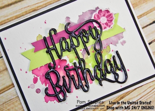 Happy Birthday Thinlits Watercolor card featuring a Sneak Peek of new products. Card created by Pam Staples. Visit sunnygirlscraps.com to place an order. #happybirthday #stampinup #sunnygirlscraps #watercolor