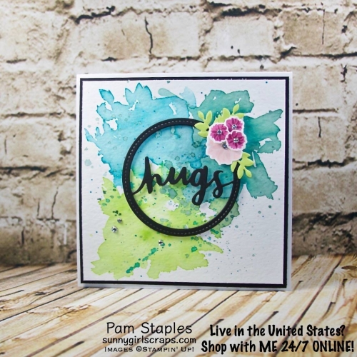 Lovely Words Watercolor card featuring a Sneak Peek of the Lovely Words Thinlits. Card created by Pam Staples. Visit sunnygirlscraps.com to place an order. #lovelywords #stampinup