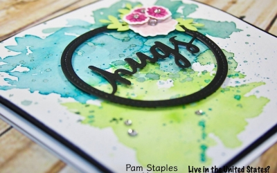 SUOC174 Lovely Words Watercolor Card