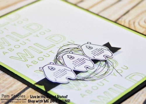 Let's get WILD! I'm Wild About You card featuring the Pieces & Patterns Stamp Set for the All About Men OSAT Blog Hop. Card created by Pam Staples. Visit www.sunnygirlscraps.com for more information. #piecespatterns #masculine #stampinup