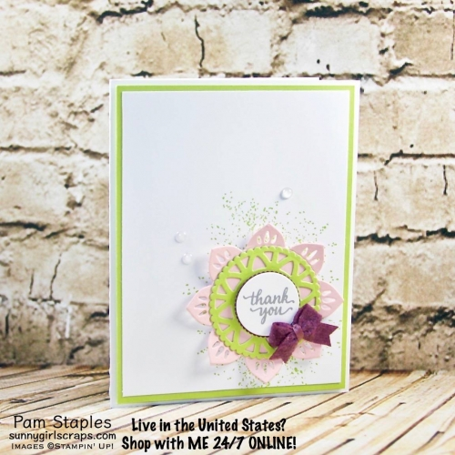 Eastern Beauty card featuring the 2017-2019 In Colors stamped by Pam Staples. Visit www.sunnygirlscraps.com for more details. #easternbeauty #handmade #stampinup