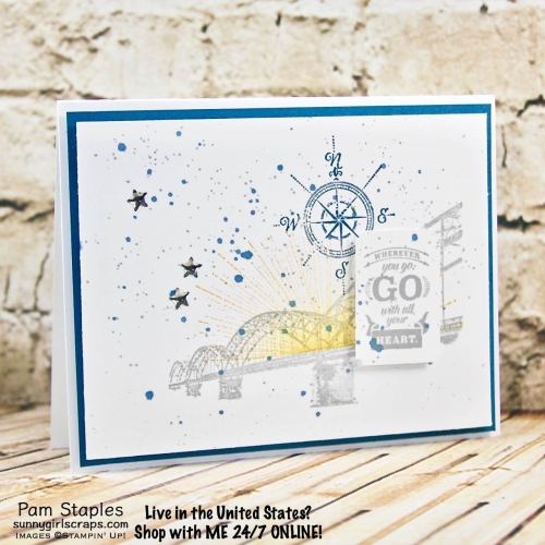 Wherever You Go Masculine card using a collage stamping technique. Card created by Pam Staples. Visit sunnygirlscraps.com to place an order. #whereveryougo #stampinup #sunnygirlscraps #masculine