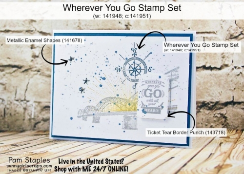 Wherever You Go Stamp It Tips from Pam Staples. Stamp with SunnyGirlScraps today. Visit www.sunnygirlscraps.com for more details