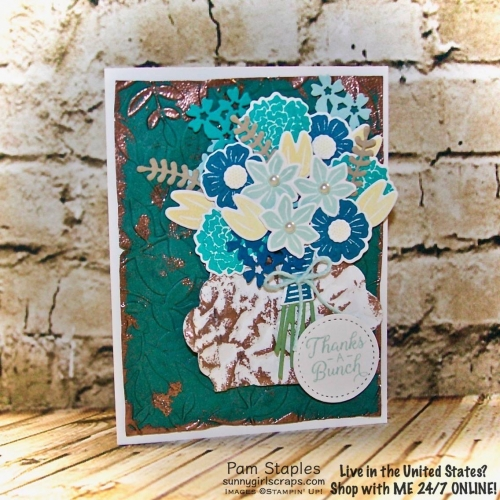 The Beautiful Bouquet Bundle is perfect for creating a Very Vintage ensemble. Card created by Pam Staples. Visit www.sunnygirlscraps.com for details and to order today. #veryvintage #osat #copper #handmadecard #scrapbooking #papercrafts #crafts #cards #craftwithme #sunnygirlscraps #vintagecards
