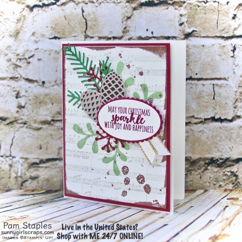 The Christmas Pines Stamp Set is an elegant stamp set and perfect for helping you get a kickstart on your holiday cards. Handmade card created by Pam Staples. Stamp with SunnyGirlScraps today. Place an order today by visiting: www.sunnygirlscraps.com #christmasinjuly #handmadecards #papercrafter #sunnygirlscraps #christmaspines #diy #embossingpaste #musicnotesbackground #scrapbooking #papercraft #craft #stampinup