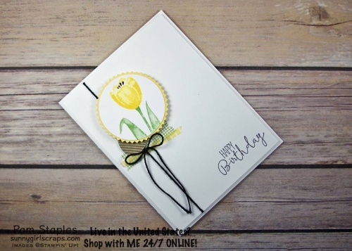 The Tranquil Tulip Hostess Stamp Set is a beautiful. This Clean and Simple card showcases a single, yellow Tulip. Handmade card by Pam Staples, SunnyGirlScraps Stamp with SunnyGirlScraps today. Place an order today by visiting: www.sunnygirlscraps.com #Tranquiltulips #stampinup #sunnygirlscraps #papercrafting #papercrafts #stamping #stamps #papercraft #rubberstamp #rubberstamps #artsandcrafts #hobby #crafts #craftastherapy #createeveryday #happymail #snailmail #creativelifehappylife #handmadeisbetter #craftsposure #creativemess #christiancreative #becreative #instagood #crafters #diy #smallbusiness #cardmaking #cardmaker #handmadecard #handmadecards