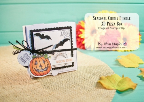 Create this adorable 3D project which is perfect for 3x3 notes or sweet treats. Project created by Pam Staples featuring the Pizza Box paired with the Seasonal Tags Bundle. www.sunnygirlscraps.com