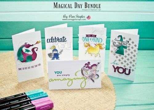 I am featuring the Magical Day Bundle along with the Celebrate You Sale-A-Bration Thinlits. Check out the fun, magical creations on my blog. Order the Magical Day Bundle NOW... Go to www.sunnygirlscraps.com #magicalday #stampinup #osat #sunnygirlscraps #celebrateyou #saleabration #amazingyou #unicorns #dragons #knights #mermaid #narrownotecards