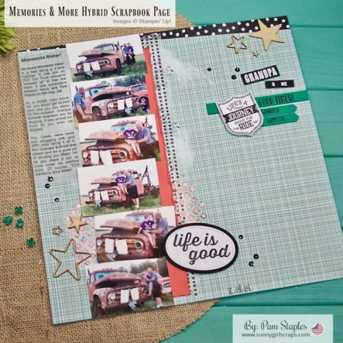 Welcome to the Scrapbook Sunday Blog Hop. Come back to my blog each month on the 3rd Sunday of the month for scrapbook inspiration. This month I use the Memories & More Perfect Days cards on a hybrid 12x12 Scrapbook Page. All supplies used are Stampin' Up! Order your supplies from me today! For details, visit www.sunnygirlscraps.com #scrapbook #stampinup #sunnygirlscraps #12x12 #traditionalscrapbook #scrapbooking #papercraft #papercrafting #diy #craft #crafty #memories #memoriesandmore #perfectdays #hybridscrapbook #mntravels #minnesota #creatingmemories #projectlife
