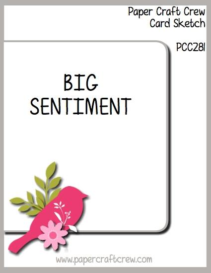 Big Sentiment Card Sketch for the Paper Craft Crew Sketch Challenge PCC281! Sketch on February 27, 2018 at 1:00 PM EST. Come play along! For details, go to sunnygirlscraps.com or to play along go to papercraftcrew.com #sketchchallenge #sunnygirlscraps #handmadecard #cards #diy #stampinup #merrycafe #christiancrafts #crafts #craft #papercraft #papercrafts #smallbusiness #ordertoday #lovelyfriends #bouquetbunch #southernserenade #handmade #girly