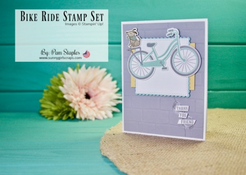 Do you know someone that enjoys going for Bike Rides? Then you'll definitely wan't the Bike Ride Stamp Set. Today's card takes you on a Bike Ride Thank You as I feature the Bike Ride Stamp Set. The Bike Ride Stamp Set is part of a bundle and the bundle will be retiring soon! Place YOUR order today for the Bike Ride bundle and save 10% on the Stamp Set and coordinating Framelits. Go to www.sunnygirlscraps.com #bikeride #Buildabike #stampinup #sunnygirlscraps #handmadecard #smokyslate #poolparty #thankyou #thankyoucard #becreative #handmadecard #papercraft #papercrafts #creativity #create #creativenation #cards #madewithlove #diy