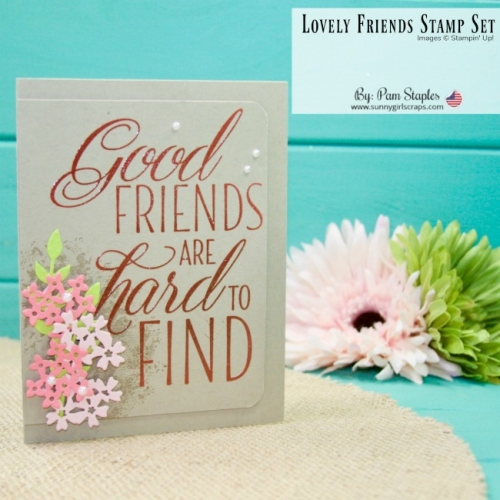 A large sentiment from the Lovely Friends Stamp Set makes a BIG statement paired with the Bouquet Bunch Framelits. Go place an order today! To create this card, you will want the Southern Serenade and Lovely Friends Stamp Set. You'll also want the Bouquet Bunch Framelits. Go to www.sunnygirlscraps.com #lovelyfriends #bouquetbunch #southernserenade #stampinup #sunnygirlscraps #handmadecard #kraft #crumbcake #incolors