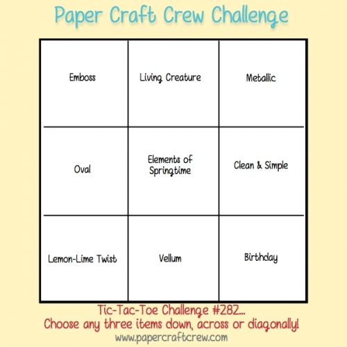 Play along with the Paper Craft Crew Tic Tac Toe Challenge 282 that ends on Tuesday, March 6, 2018 at 1 PM EST. Visit www.papercraftcrew.com #pcc2018 #pcc282 #papercraft #papercrafts #crafts #becreative #creativity #create #sunnygirlscraps #stampinup #diy #craft #craftnation #crafter #playwithpaper #smallbusiness #handmade #handmadecards #cards