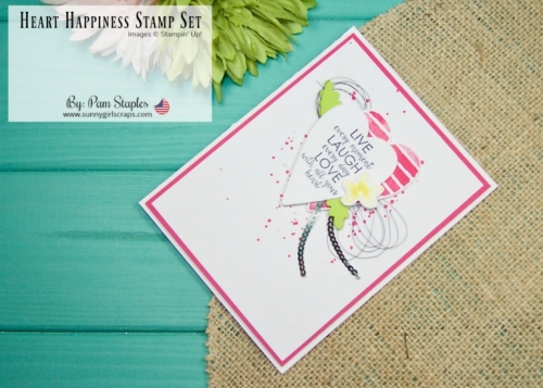 This card features the Ribbon of Courage Stamp Set along with the Heart Happiness Stamp Sets from Stampin' Up! Check out the bright, cheerful projects on my blog. Don't forget to place an order today. Order the Ribbon of Courage Bundle and Heart Happiness today... Go to www.sunnygirlscraps.com #hearthappiness #petalpalette #stampinup #osat #sunnygirlscraps #hearts #cancer #ribbonofcourage #valentinesday #handmadecard