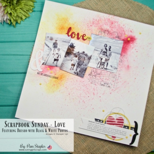Welcome to the Scrapbook Sunday Blog Hop. Come back to my blog each month on the 3rd Sunday of the month for scrapbook inspiration. This month the theme is love. I have created a traditional 12x12 Scrapbook Page featuring Brusho Crystal Colour along with Black and White Photos. All supplies used are Stampin' Up! Order your supplies from me today! For details, visit www.sunnygirlscraps.com #scrapbook #stampinup #sunnygirlscraps #12x12 #traditionalscrapbook #scrapbooking #papercraft #papercrafting #diy #craft #crafty #memories #memoriesandmore #perfectdays #hybridscrapbook #brusho #southdakota #badlands #blackandwhite #creatingmemories #projectlife