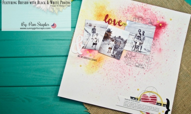 Scrapbook Sunday: Love Scrapbook Page featuring Brusho with Black and White Photos