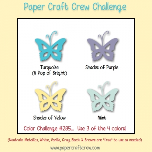 Play along with the Paper Craft Crew Color Challenge 285 that ends on Tuesday, March 27, 2018 at 1 PM EST. Visit www.papercraftcrew.com #pcc2018 #papercraft #papercrafts #crafts #becreative #creativity #create #sunnygirlscraps #stampinup #diy #craft #craftnation #crafter #playwithpaper #smallbusiness #handmade #handmadecards #cards #challengeblog