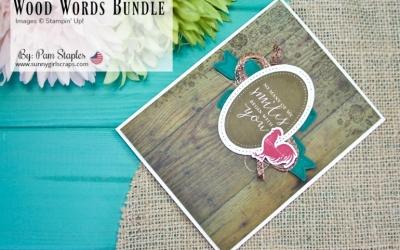 PCC 288: Wood Words Rustic Floral Card