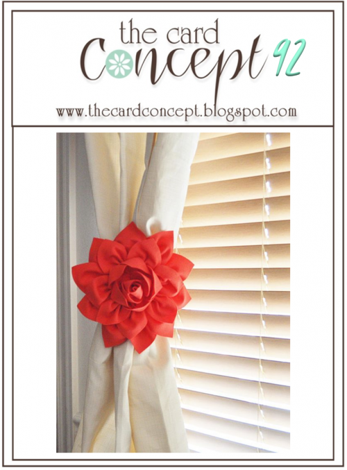 A Bold Red Bloom holding back a curtain with a shaded window and light streaming into the room