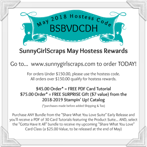 Turquoise Banner broadcasts May 2018 Hostess Code for SunnyGirlScraps online Stampin' Up! orders.