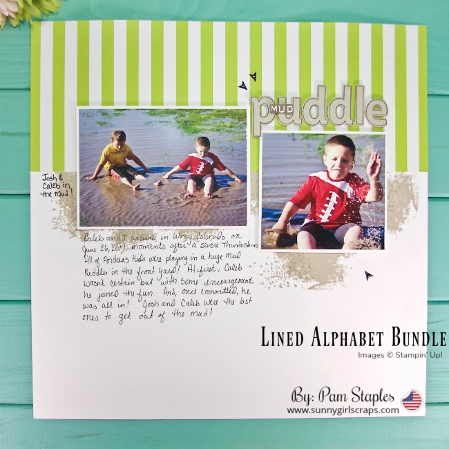 Order STAMPIN' UP! 24/7 from Pam Staples! Scrapbook page featuring the Lined Alphabet Bundle from the 2018-2019 Stampin' Up! Annual Catalog. Need Journaling tips for your scrapbook page? Visit my blog today at www.sunnygirlscraps.com #scrapbook #scrapbooking #create #creative #creativity #projectlife #traditionalscrapbooking #makersgonnamake #whitespace #stampinup #sunnygirlscraps #papercraft #papercrafts #papercrafter