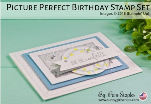 Ring in the New Year with the Blogging Friends Blog Hop. Visit all the blogs for inspiration.  I've created a New Year Card by using the Picture Perfect Birthday Stamp Set paired with the Bokeh Dots and Frost White Shimmer Paint.  To order today and take advantage of the year end sale, visit my blog at www.sunnygirlscraps.com  #stampinup #ringinthenewyear #newyearseve #2019newyear #timesquare #sunnygirlscraps #shimmerpaint #bokehdots #makersgonnamake