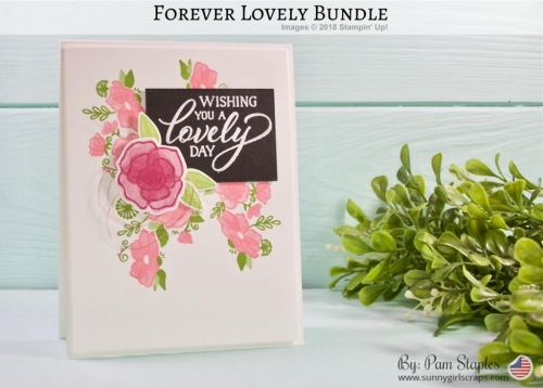 Forever Lovely floral card with a splash of Black and White for TCC106 created by Pam Staples
