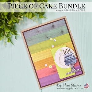 Wood Wash Rainbow Technique Card featuring the Piece of Cake Bundle from the 2019 Stampin' Up! Occasions Catalog