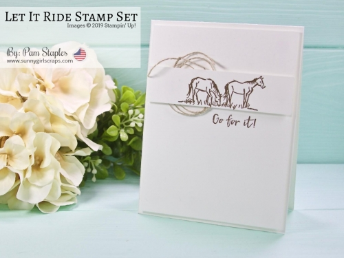 Shop 24/7 with SunnyGirlScraps by visiting www.sunnygirlscraps.com. Use the hostess code for all orders under $150.00! This card features the Let It Ride Stamp Set from the 2019 Stampin' Up! Occasions Catalog. It is a Clean, and Simple Card. Sample designed and created by Pam Staples, SunnyGirlScraps. Products used are from the 2019 Occasions Catalog and 2018-2019 Annual Catalog.