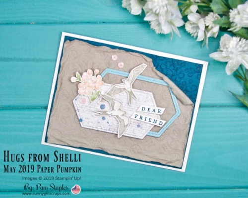 Hugs from Shelli Shabby Chic card with Crumb Cake and Pretty Peacock